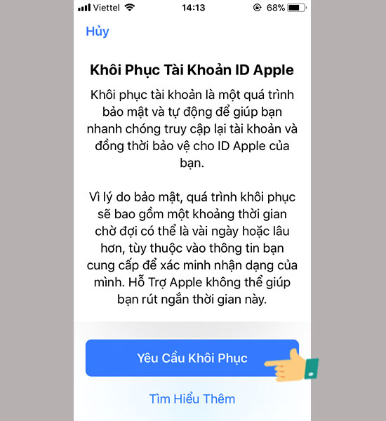 chon khoi phuc id apple