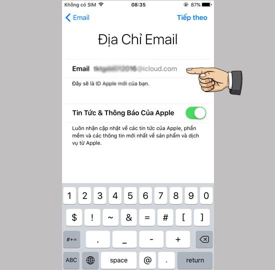 nhap email icloud