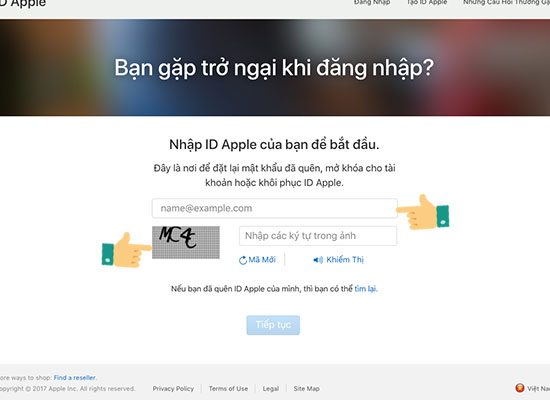 nhap id apple